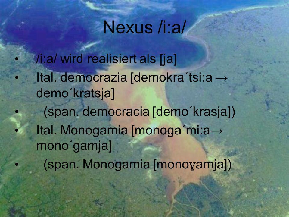 Nexus /i:a/ /i:a/ wird realisiert als [ja]
